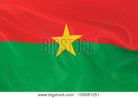 Waving Flag Of Burkina Faso - 3D Render Of The Burkinabe Flag With Silky Texture