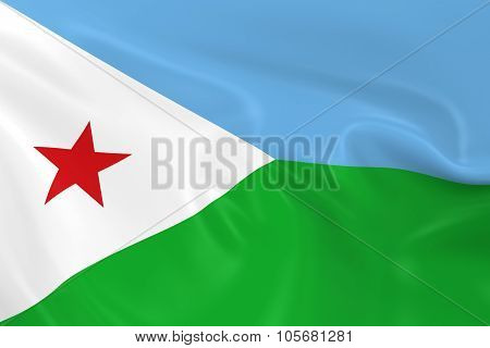 Waving Flag Of Djibouti - 3D Render Of The Djiboutian Flag With Silky Texture