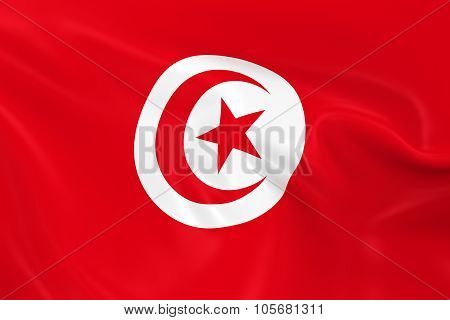 Waving Flag Of Tunisia - 3D Render Of The Tunisian Flag With Silky Texture