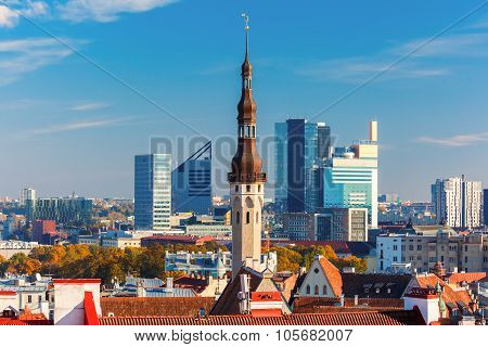 Aerial cityscape of Tallinn, Estonia