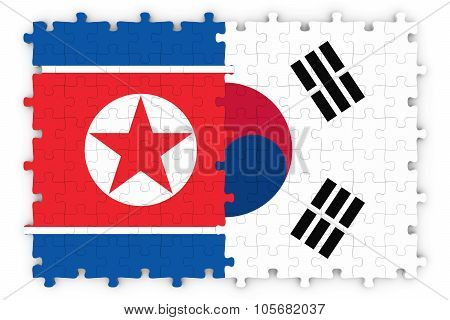 South Korean And North Korean Relations Concept Image - Flags Of South Korea And North Korea Jigsaw