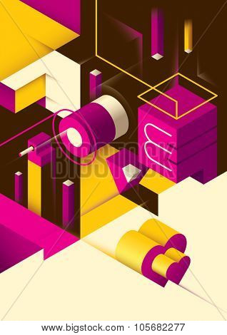 Love background with isometric abstraction. Vector illustration.