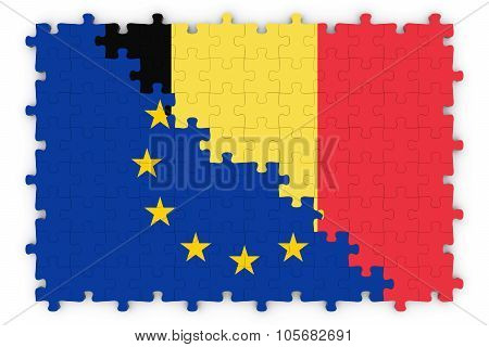 European And Belgian Relations Concept Image - Flags Of The European Union And Belgium Jigsaw Puzzle