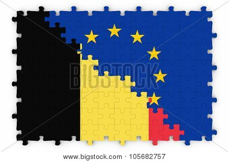 Belgian And European Relations Concept Image - Flags Of Belgium And The European Union Jigsaw Puzzle