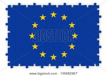 European Flag Jigsaw Puzzle - Flag Of The European Union Puzzle Isolated On White