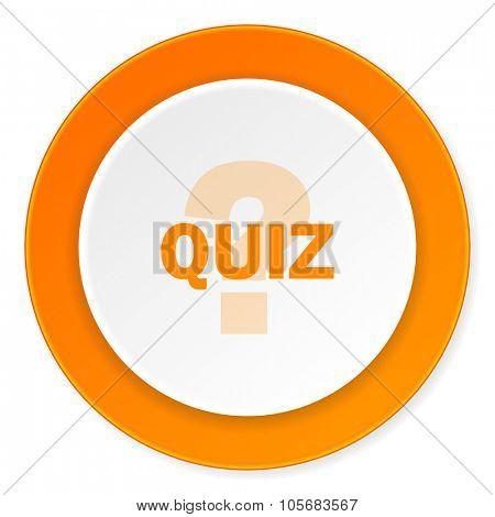 quiz orange circle 3d modern design flat icon on white background