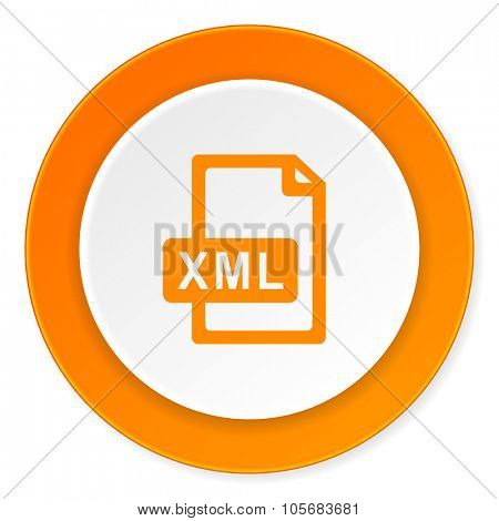 xml file orange circle 3d modern design flat icon on white background