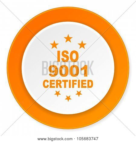 iso 9001 orange circle 3d modern design flat icon on white background