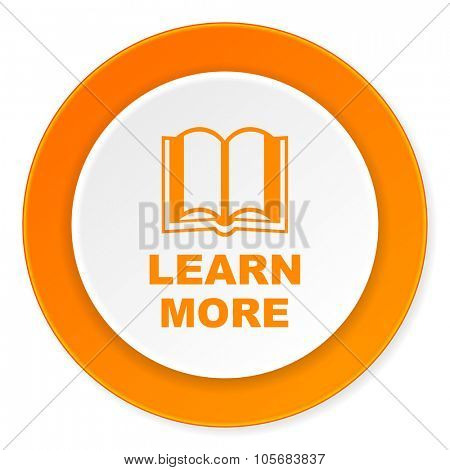 learn more orange circle 3d modern design flat icon on white background