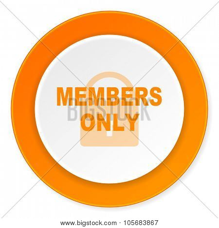 members only orange circle 3d modern design flat icon on white background