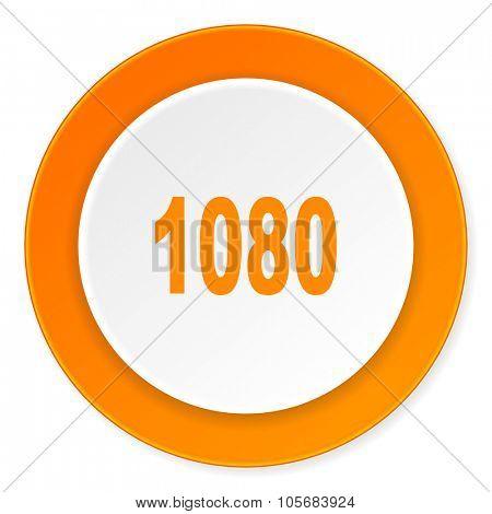 1080 orange circle 3d modern design flat icon on white background
