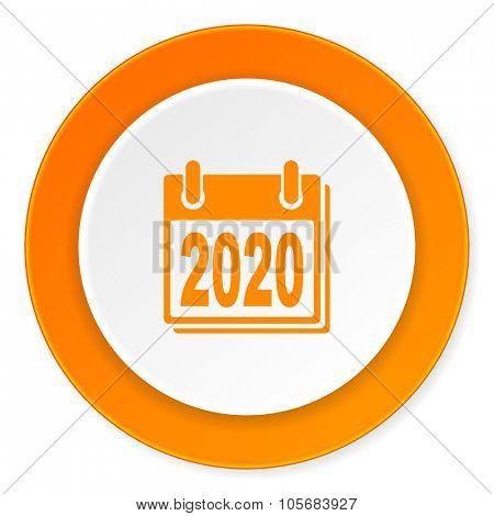 new year 2020 orange circle 3d modern design flat icon on white background