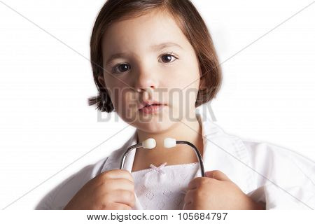 Cute Girl With A Clinical Mercury-in-glass Thermometer