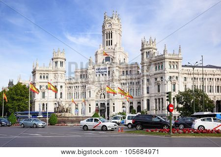 MADRID, SPAIN - SEPTEMBER 23, 2015: Palacio de Comunicaciones at Plaza de Cibeles in Madrid
