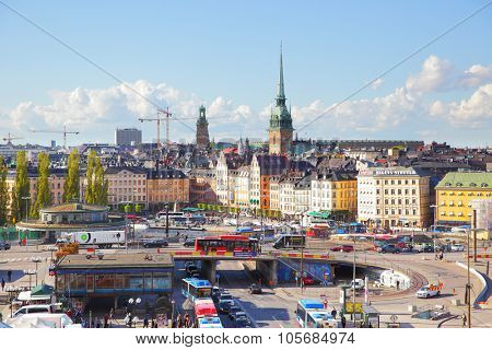 STOCKHOLM, SWEDEN - May 21, 2015: Panoramic view of Old Town (Gamla Stan) in Stockholm with traffic