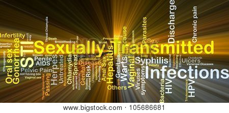 Background concept wordcloud illustration of sexually transmitted infections STI glowing light