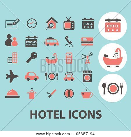 hotel, motel concept icons, symbols on background, vector