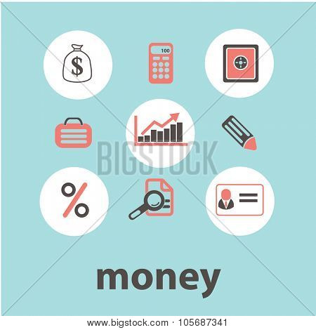 money, cash concept icons, symbols on background, vector