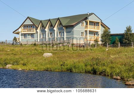 New Small Hotel On The Lake Bank In Summer