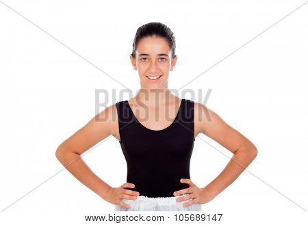 Smiling little dancer with hair pulled isolated on a white background
