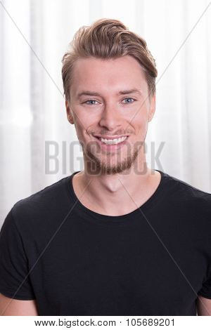 Young Sporty Man With Black T-shirt