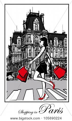 Women shopping in Paris - Vector illustration