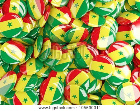 Background With Round Pins With Flag Of Senegal