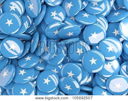 Background With Round Pins With Flag Of Somalia