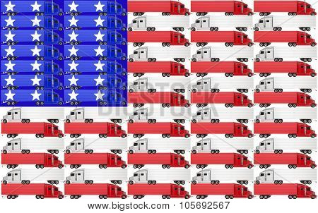 Red, white and blue trucks with tractor trailer big rig 18 wheelers on an American flag for the USA United States of America
