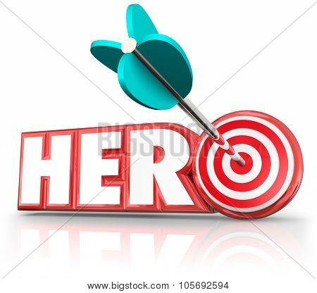 Hero word in red 3d letters to illustrate a super savior or role model