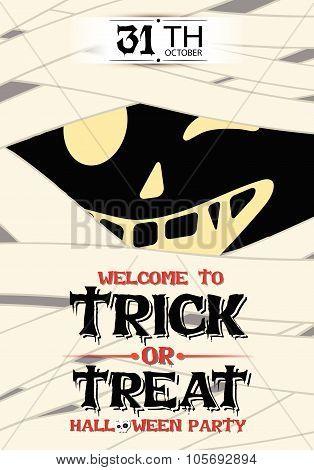 Vector Mummy Poster Halloween Party Illustration