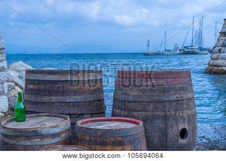 Wooden barrels on the harbor Corfu Greece