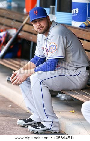 DENVER-AUG 21: New York Mets outfielder Lucas Duda in the dugout before a game against the Colorado Rockies at Coors Field on August 21, 2015 in Denver, Colorado.
