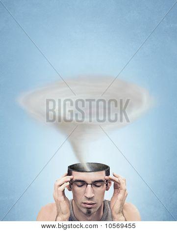 Conceptual picture - tornado head man