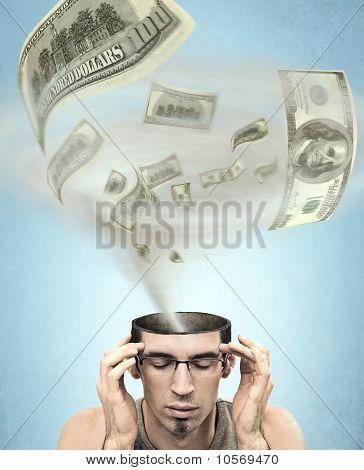 Dollars tornado in men's head