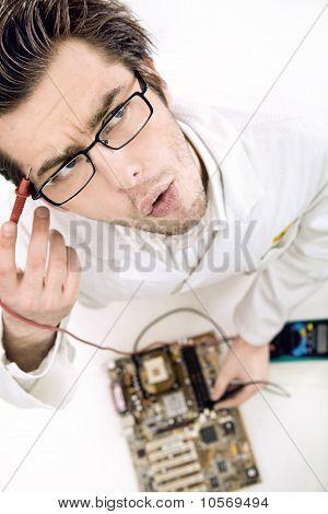 Technician repairing computer