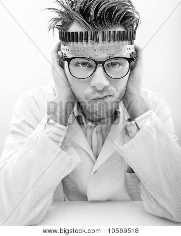 Portrait of a madman scientist