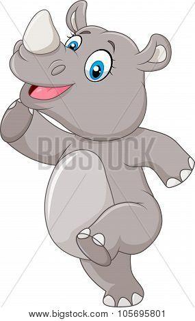 Cartoon happy rhino posing isolated on white background