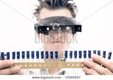 Weird looking scientist