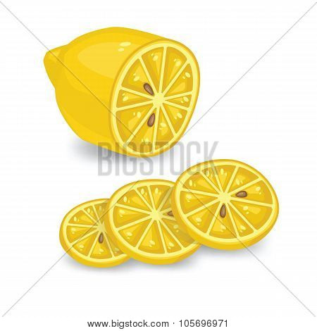 Lemon and lemon slice