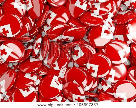 Background With Round Pins With Flag Of Tonga
