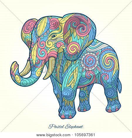 Elephant pastel color ornament ethnic vector