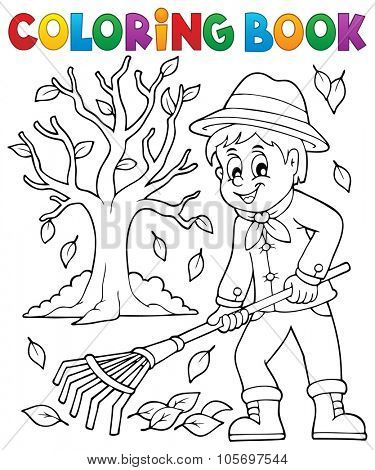 Coloring book gardener and tree - eps10 vector illustration.