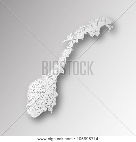 Map Of Norway With Lakes And Rivers.