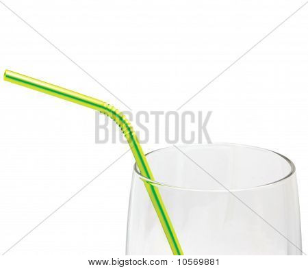 Empty Glass And Drinking Straw Macro Closeup Isolated, Yellow, Green