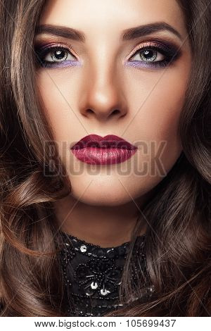 Portrait Of Woman With Evening Make Up