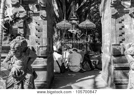 People praying at Tirta Empul holy water temple Bali ,Indonesia