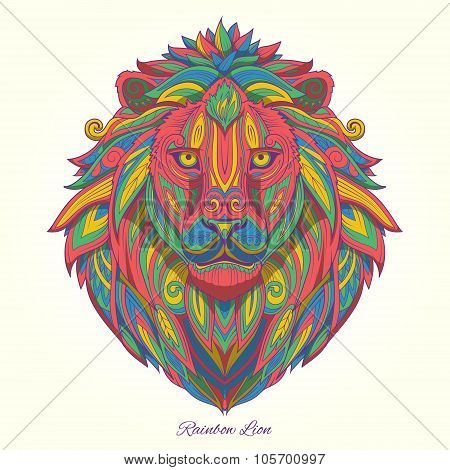 Lion rainbow colorful  ornament ethnic vector