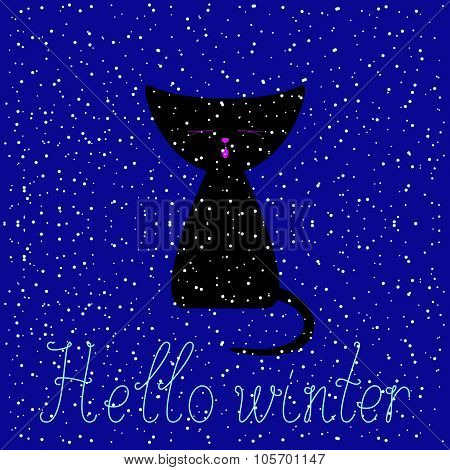 Hello Winter Greeting Card With Black Kitten