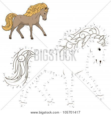 Connect dots to draw wild horse educational game
